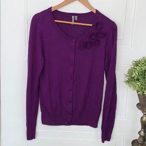 Caslon purple cardigan floral cashmere blend large